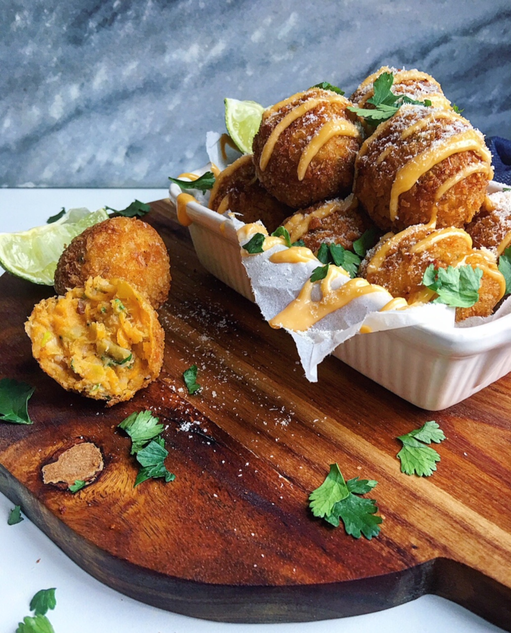 "There's nothing ""fishy"" about these Bacalhau/Bakkeljauw Sweet Potato Croquettes! They are seriously yummy!"