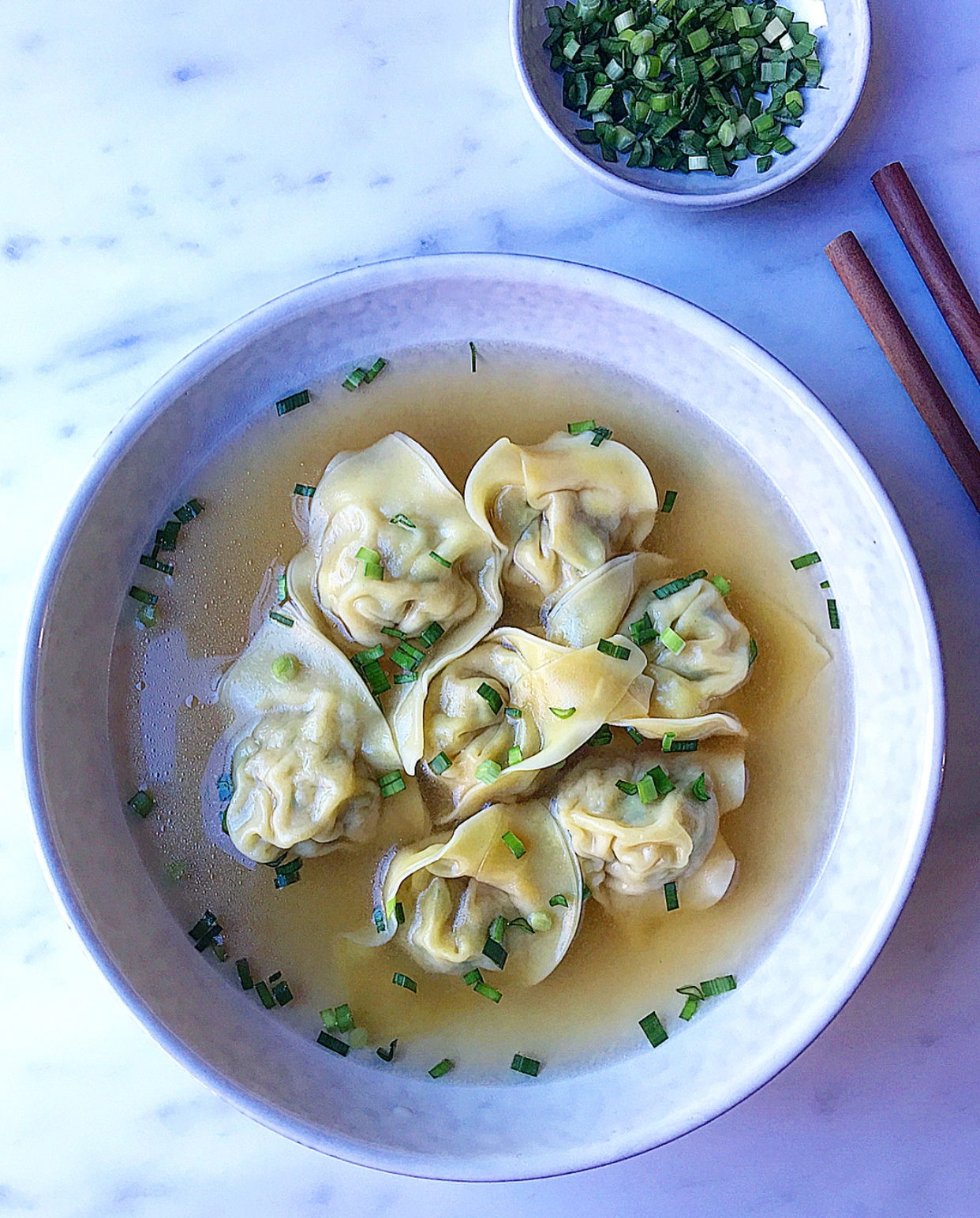 This wonton soup is the perfect soup to warm you up on a cold day, but I also make it when it's scorching hot outside.