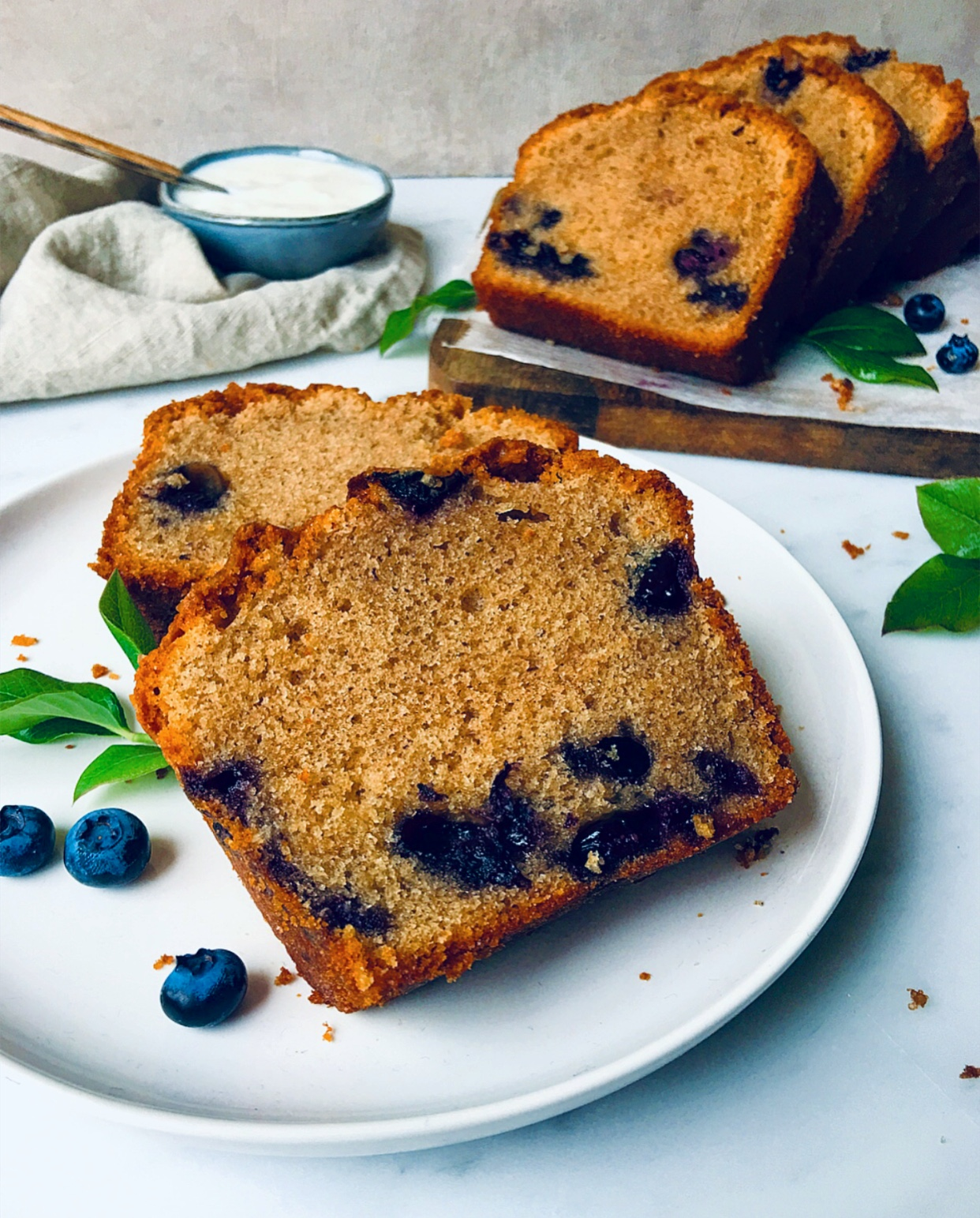 Easy, moist, soft Blueberry Cinnamon Loaf Cake.