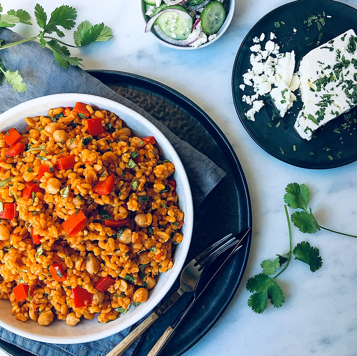 Replace your brown rice or quinoa for Bulgur. This nutty wheat has great flavour and works perfect in salads, with meat or as a side.