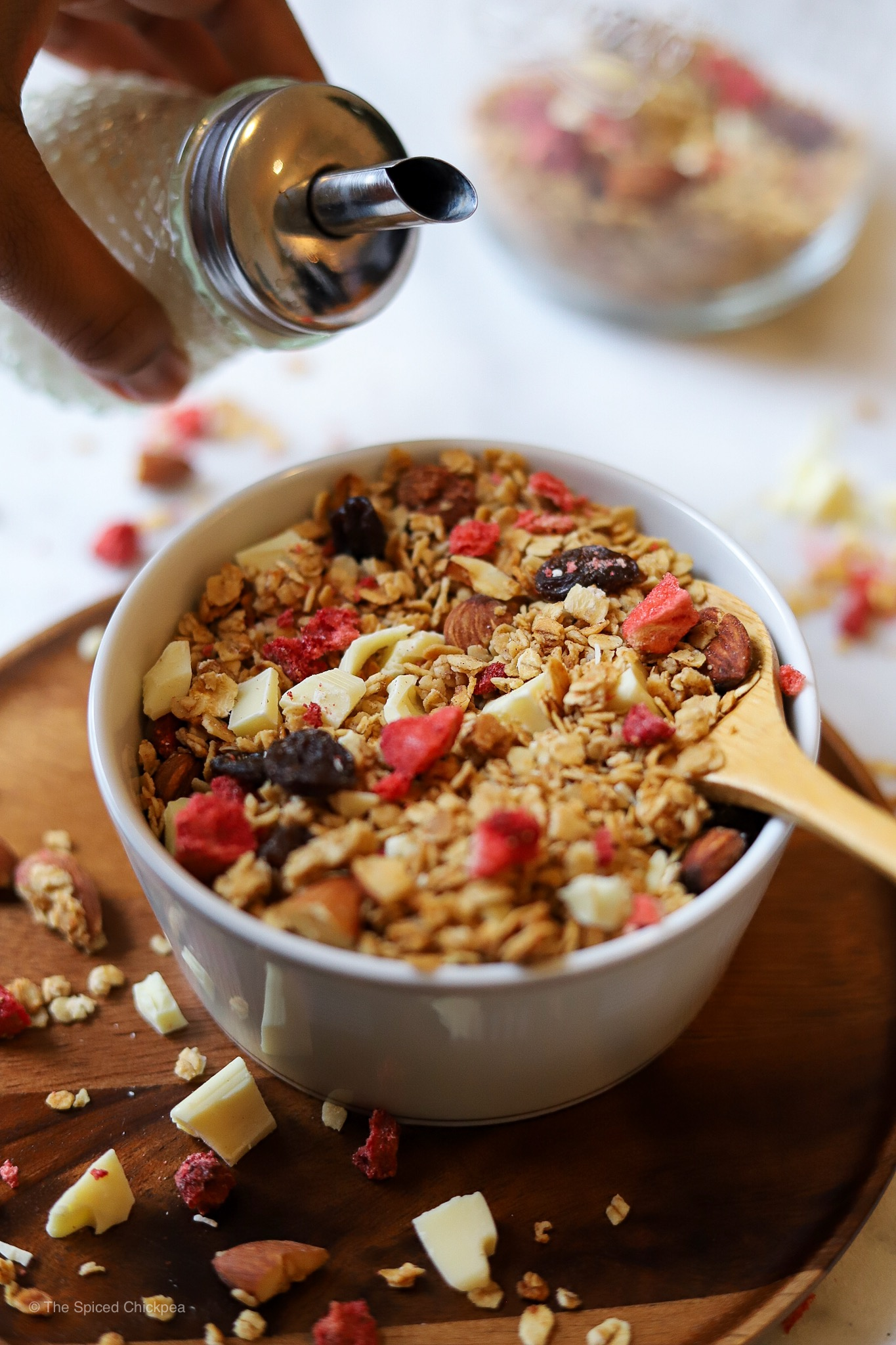 Granola W White Chocolate Chunks Dried Strawberries The Spiced Chickpea